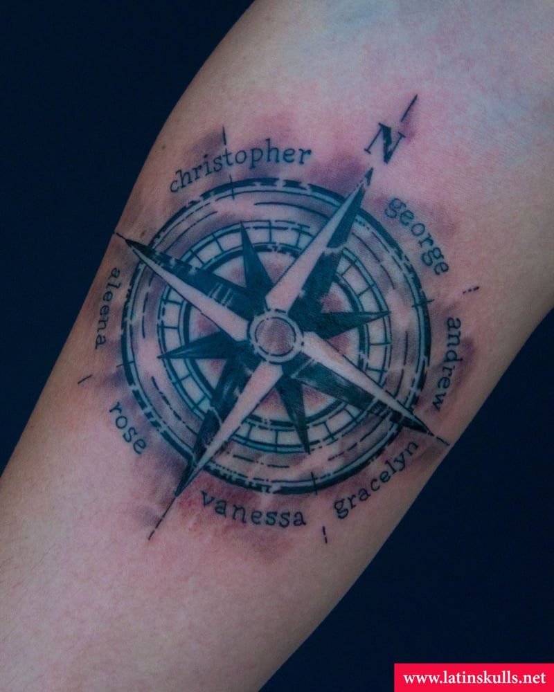 Compass tattoo done at latin skulls yelp for Tattoo pico rivera