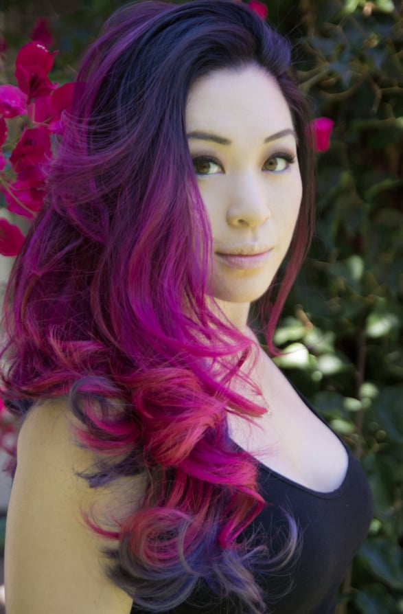 Magenta Ombre On The Top Half And Violet Lilac Ombre On