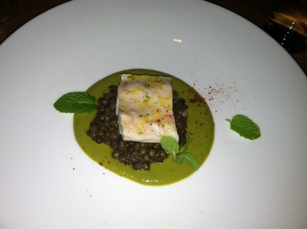 Tasting menu striped bass with spring onion pur e and for Little fish philadelphia