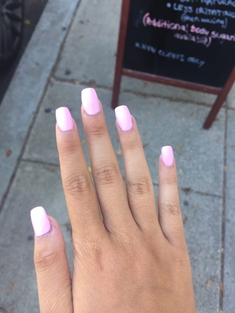 41$ full set manicure matte pink coffin. So nice i love her - Yelp