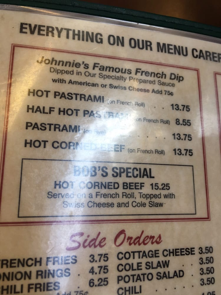 Johnnie S Pastrami Restaurant Menu