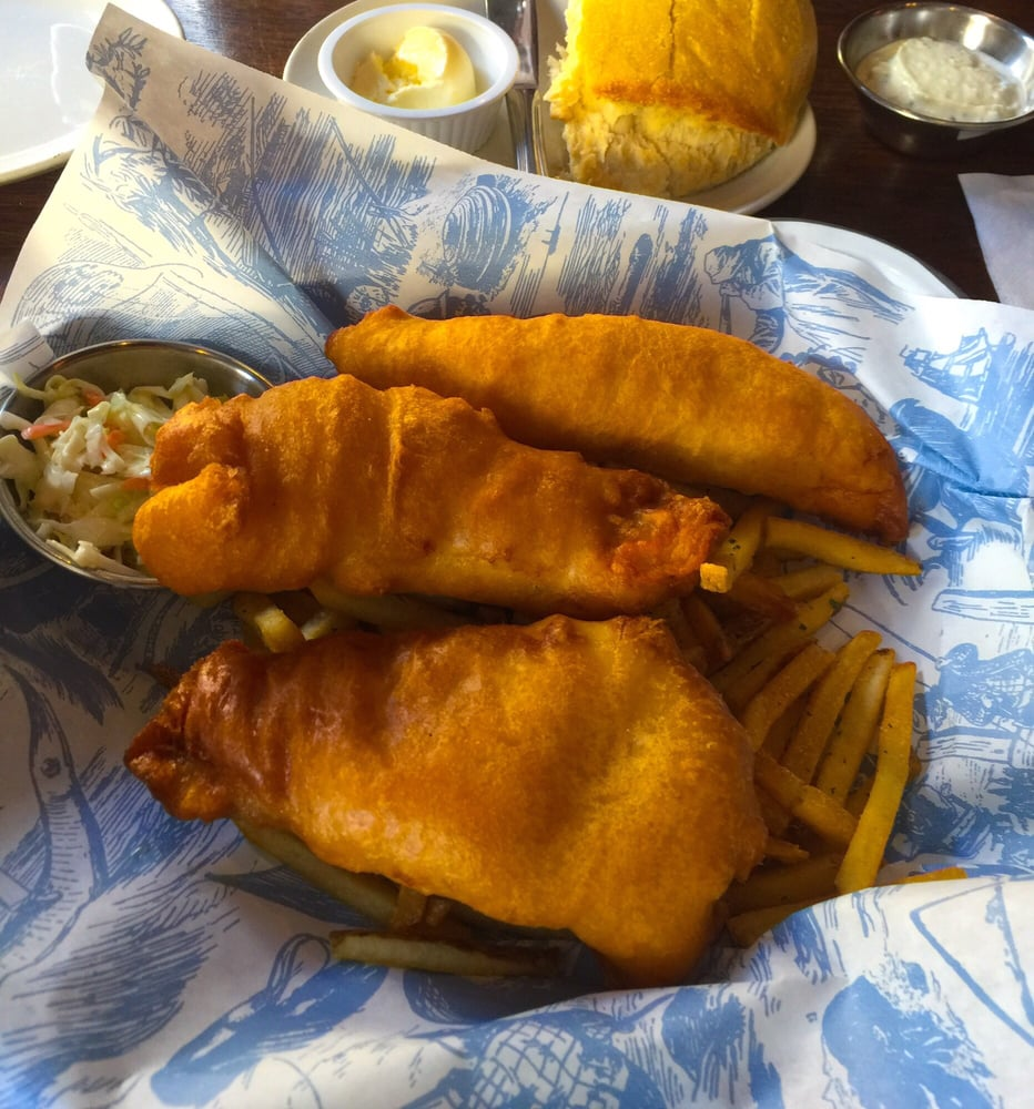 Fish chips the batter was too soft and bread cake like for King s fish house long beach ca
