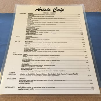 Aristo Cafe Torrance Menu
