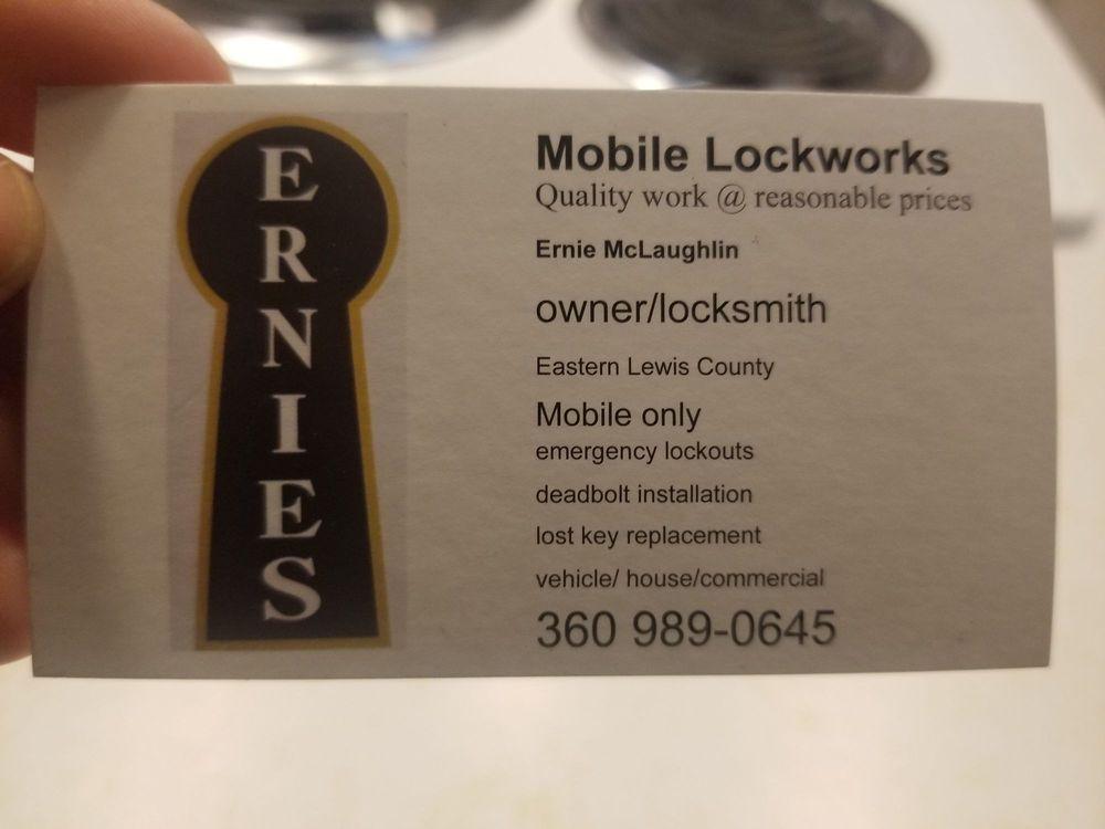 Ernie's Mobile Lockworks: 102B Monroe Rd, Winlock, WA