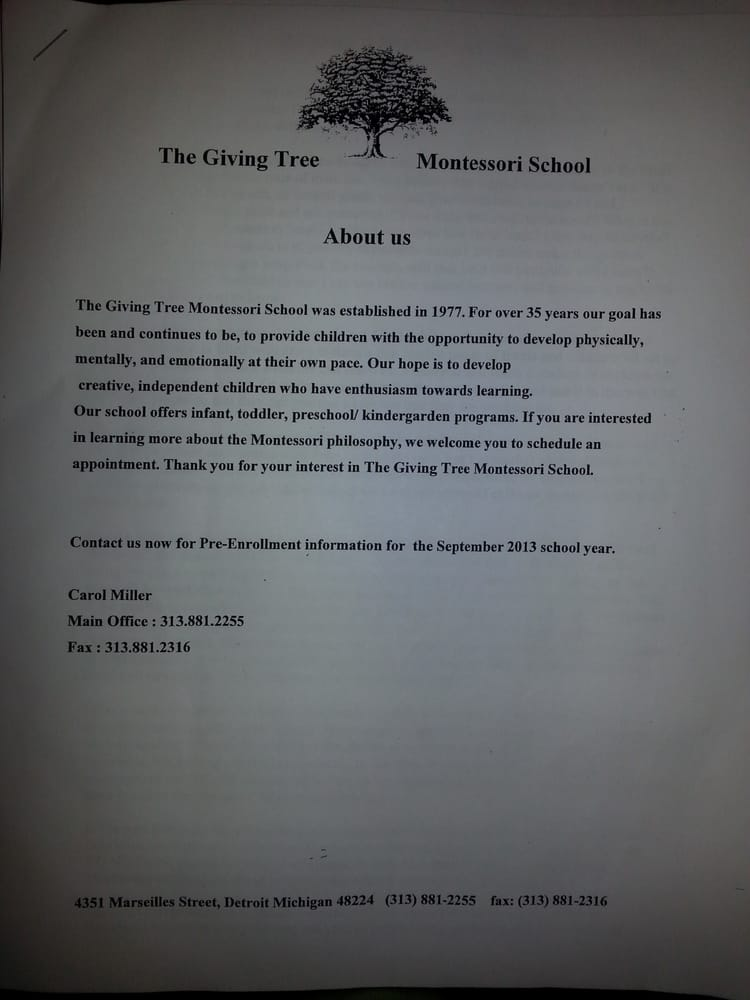 The Giving Tree Montessori School: 4351 Marseilles St, Detroit, MI