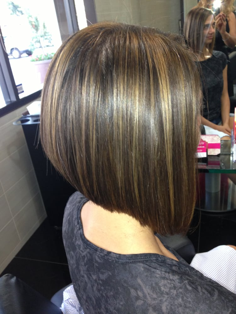 """Highlight A Line Bob Haircut Irvine best hair salon"