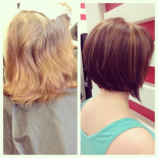 Before After Stunning Color Crown Highlights Bob Cut Styled
