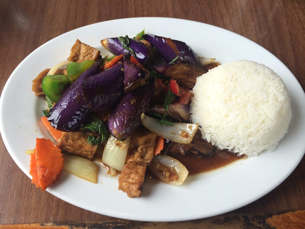 Eggplant and tofu lunch plate flavor was good but rather for 22 thai cuisine yelp