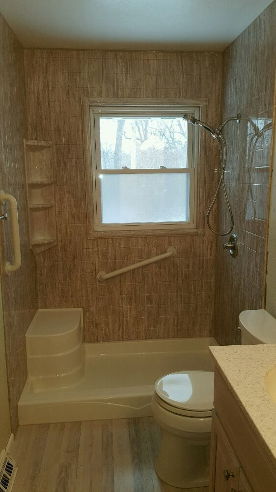 Acrylic shower with matching window trim kit yelp for Bathrooms plus lake worth fl