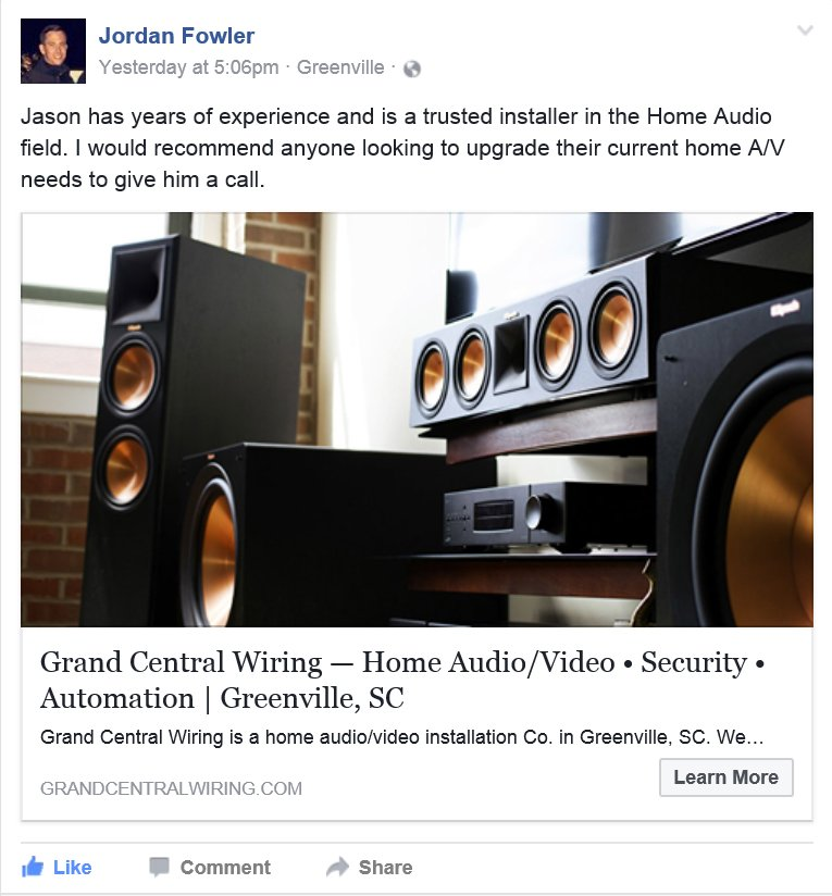 Grand Central Wiring Facebook review. - Yelp