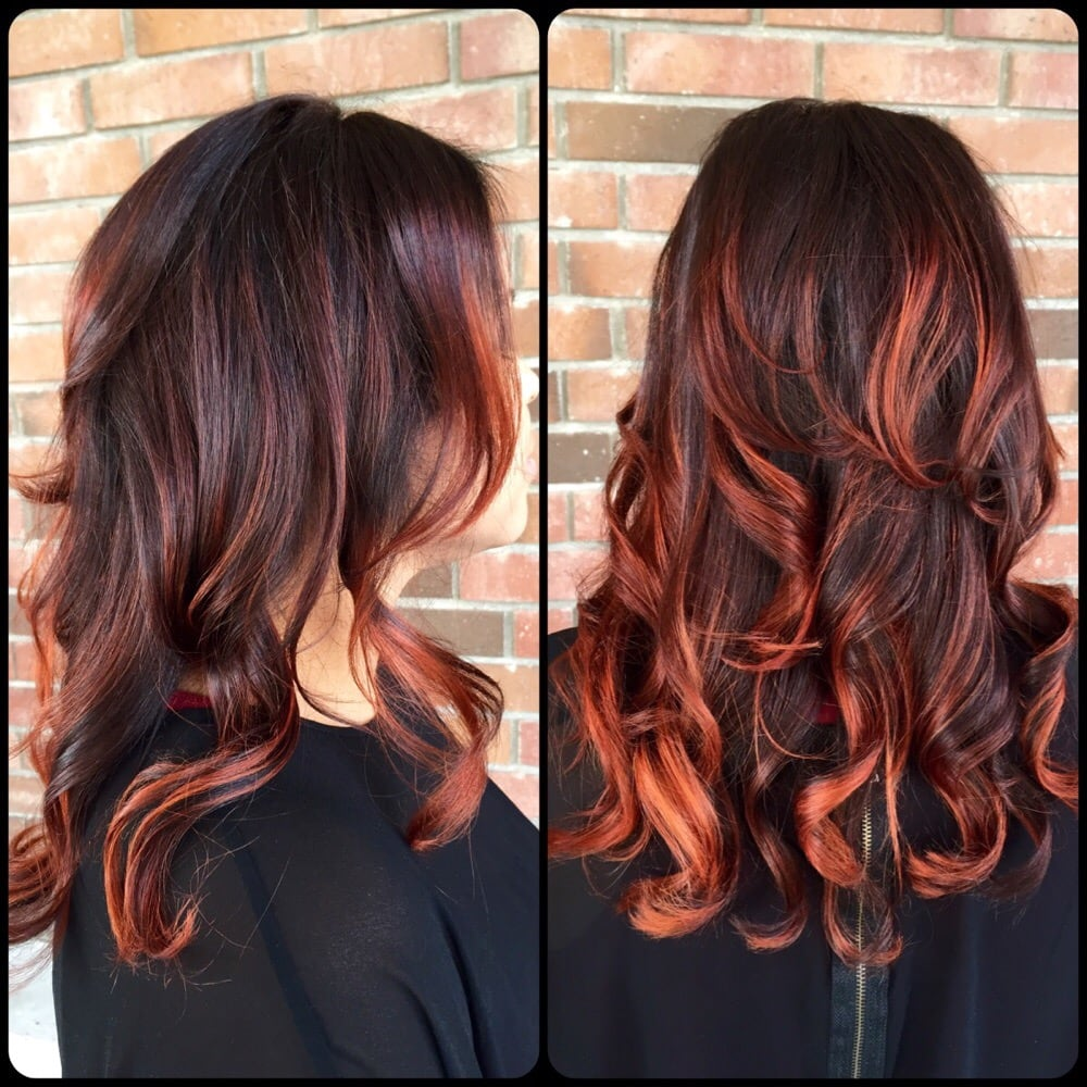 dark brown hair with red and copper highlights hairs