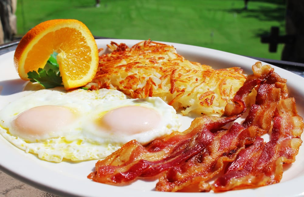 Image result for bacon eggs over easy and hash browns