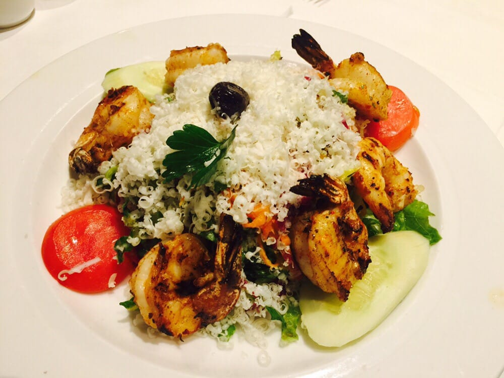 Grilled shrimp over mediterranean salad yelp for Ali baba cuisine