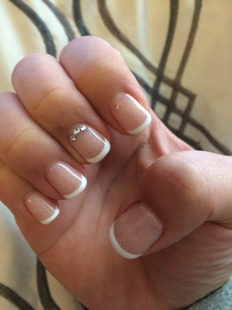 Gel French manicure $25, $3 gem accent; on point - Yelp