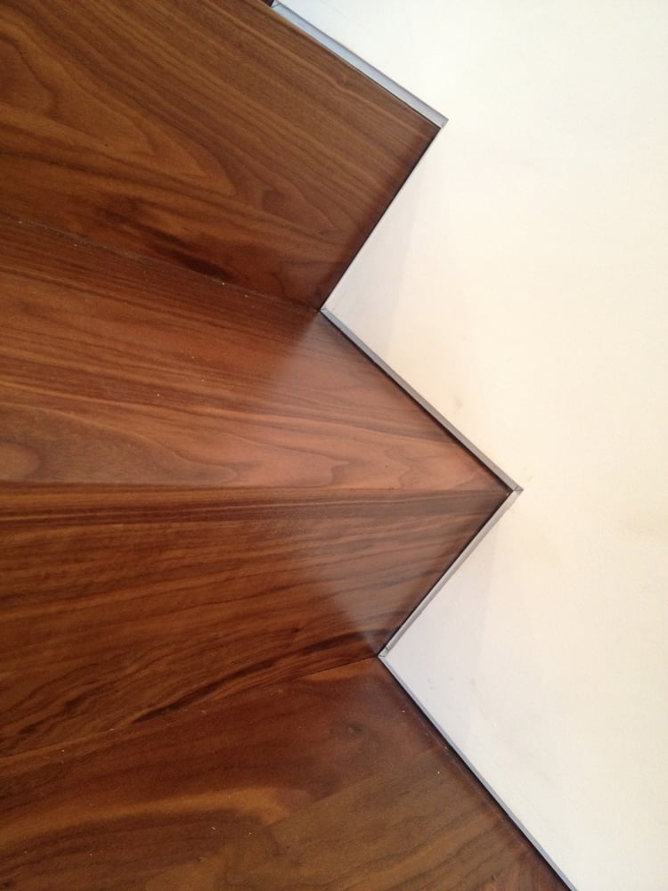 Custom Walnut Stairs With The Use Of A Fry Drywall Reglet