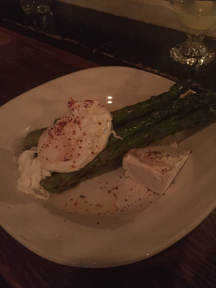 Asparagus egg and brie the egg was cooked through no for Pickled fish long beach wa