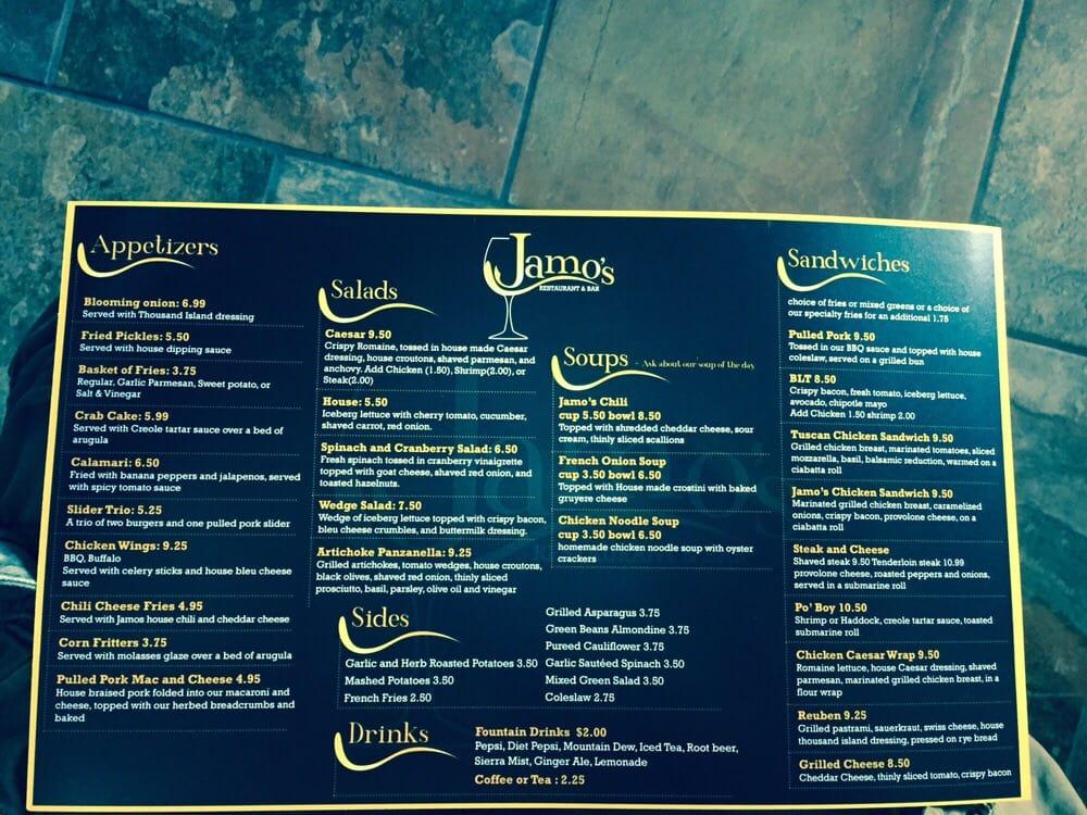 Online Menu Of Jamos Restaurant Bar