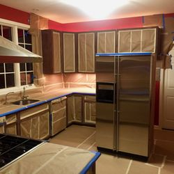 Photo Of Refinishing Express   Gaithersburg, MD, United States. Old Cabinets  Being Prepped