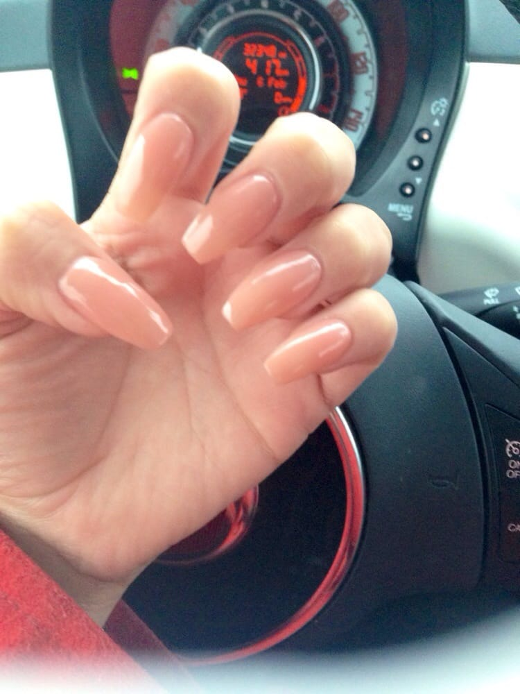 Natural color acrylic nails coffin shape - Yelp