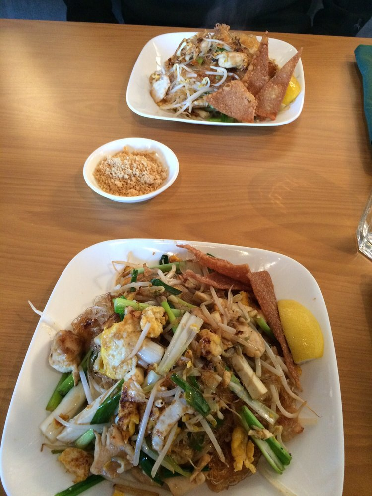 Chicken pad thai with glass noodles and peanuts on the for 8 spices thai cuisine menu