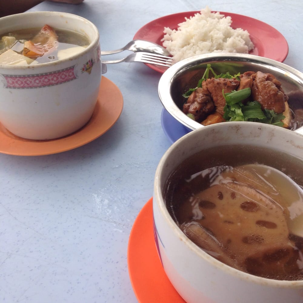 Steam From Soup ~ Lotus root peanut soup salted vege potato chicken