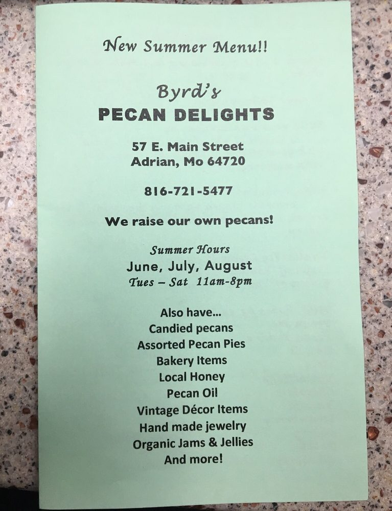 Byrd's Pecan Delights: 115 S Old 71 Hwy, Adrian, MO