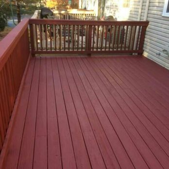 2 Coats Of Solid Stain Color Red In Deckscapes From Sherwin