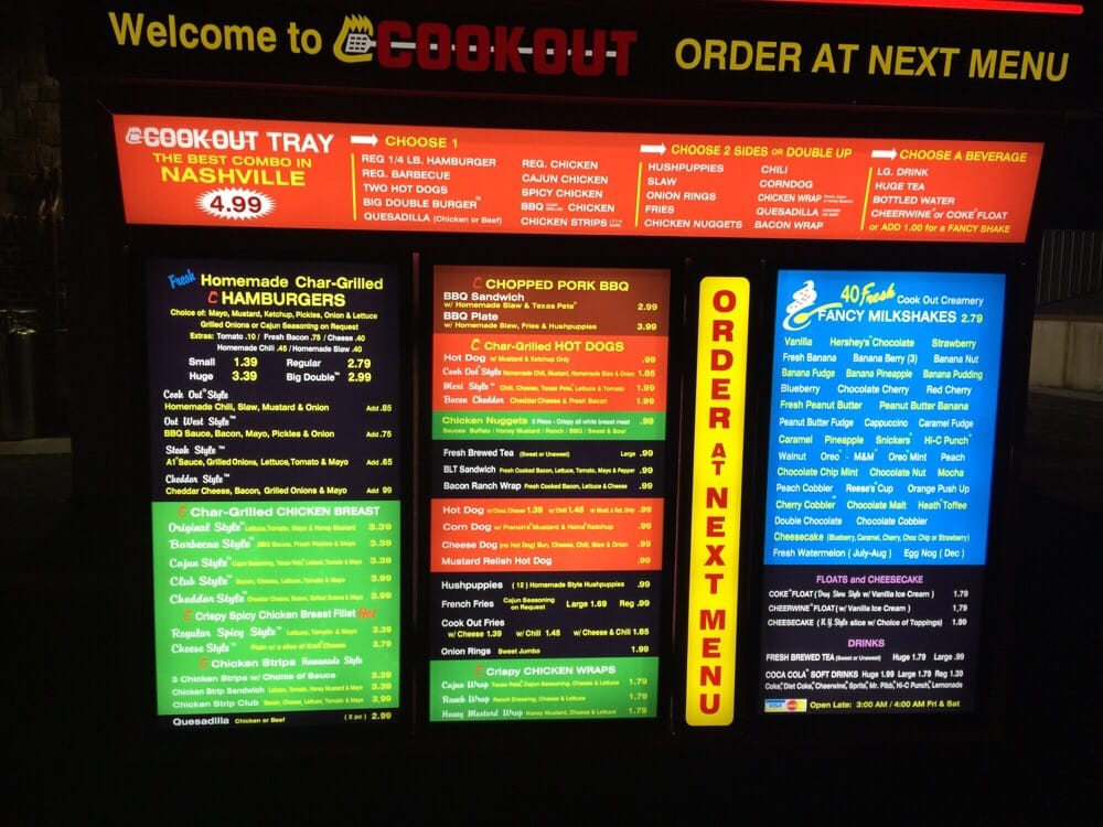 Cookout Restaurant Nashville Menu