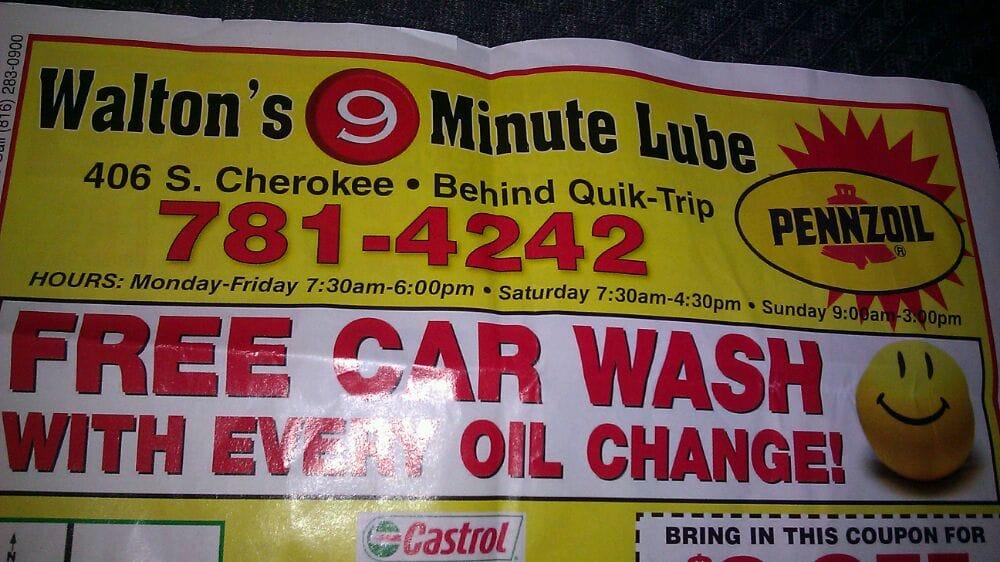 Waltons 9 Minute Oil Change