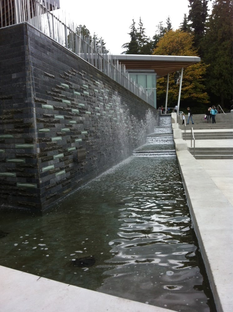 salmon ladder wall waterfall sculpture yelp