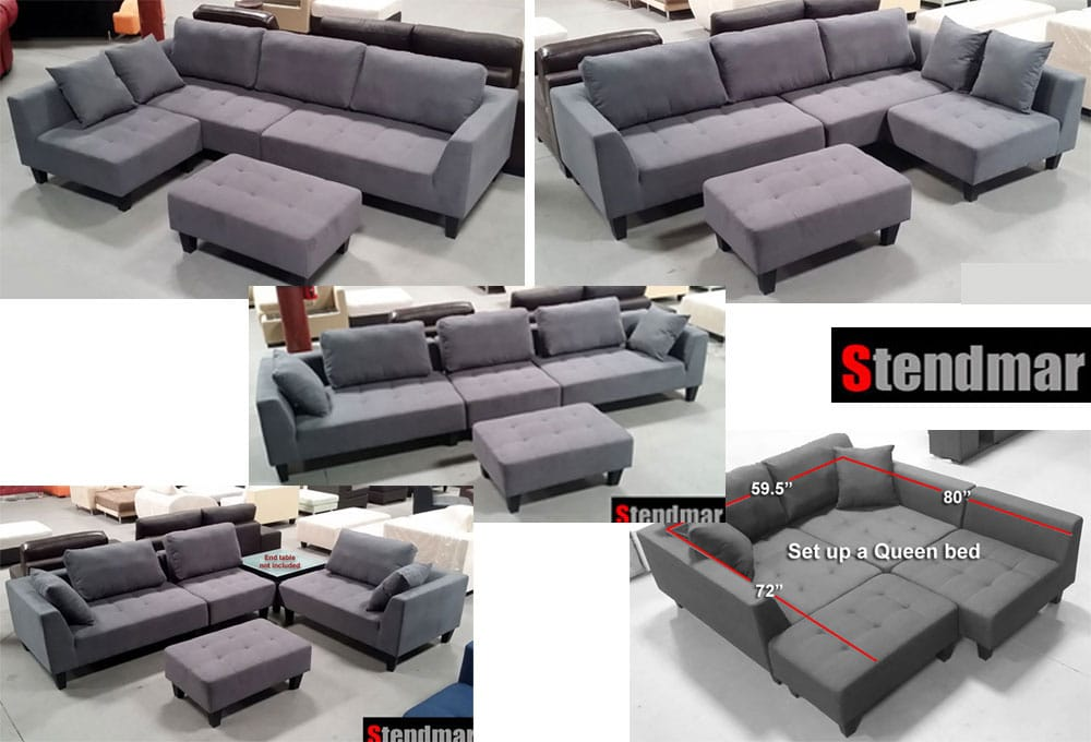 2015 new multifunction sectional sofa dark grey microfiber for Sofa bed 91762