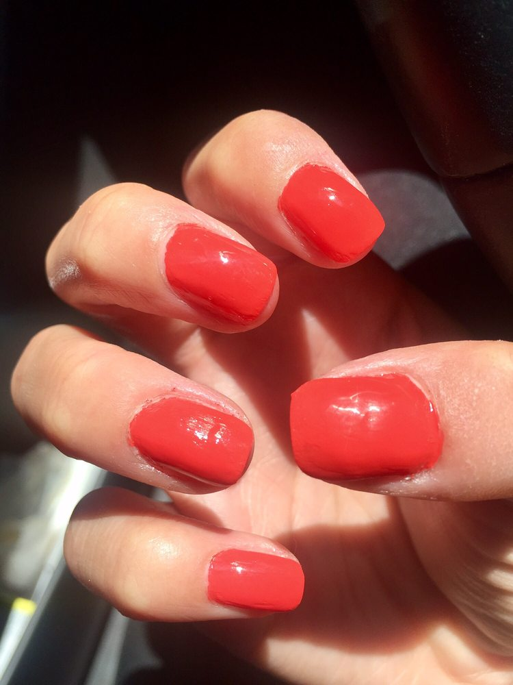 Left hand looking like a five-year old painted my nails. No second ...