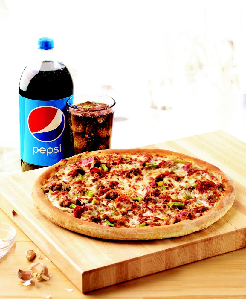 Large Pepperoni Sausage Amp Green Pepper Pizza With 2 Liter