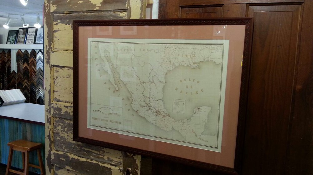 Beautiful framing job of our fancy vintage map of Mexico. - Yelp