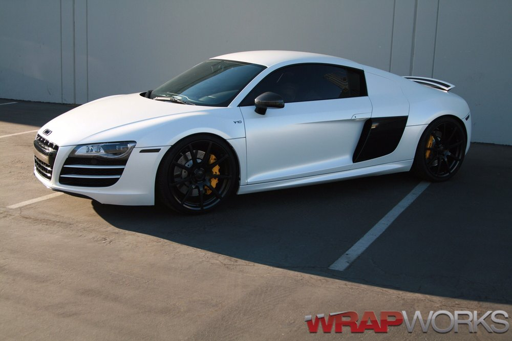 Audi r8 wrapped in satin pearl white with custom black accents yelp photo of wrap works costa mesa ca united states audi r8 wrapped publicscrutiny Choice Image