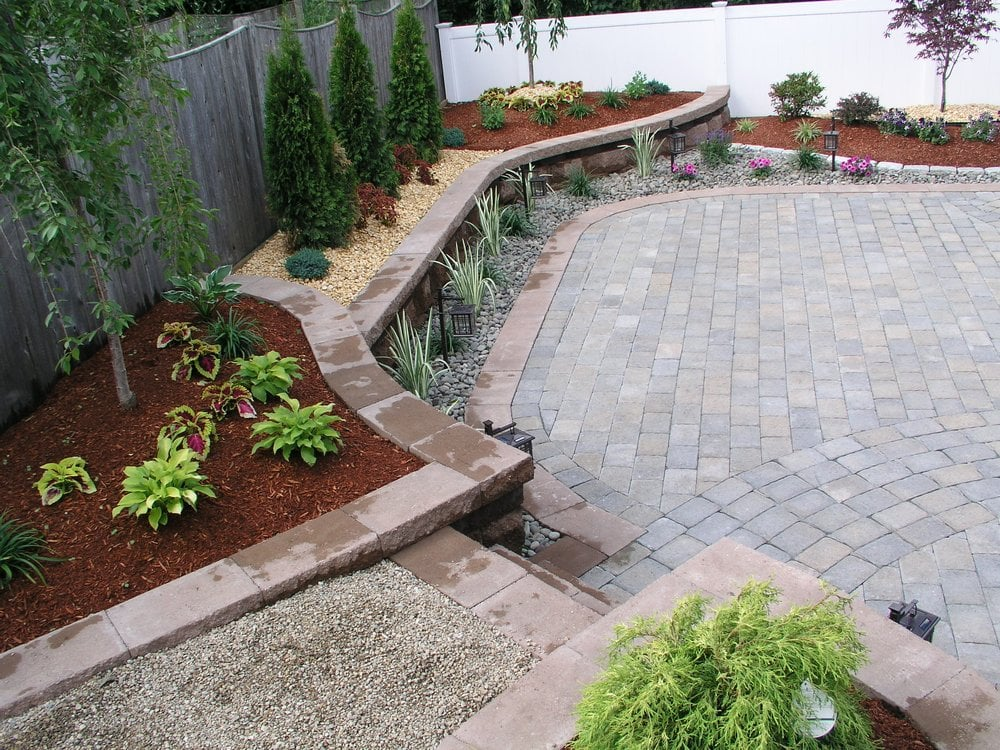 Designer paver patio and retaining walls with plantings for Landscaping rocks canada
