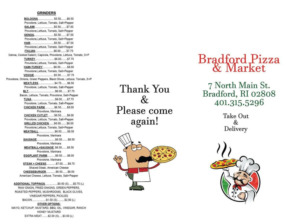 Bradford Pizza and Market: 7 N Main St, Bradford, RI