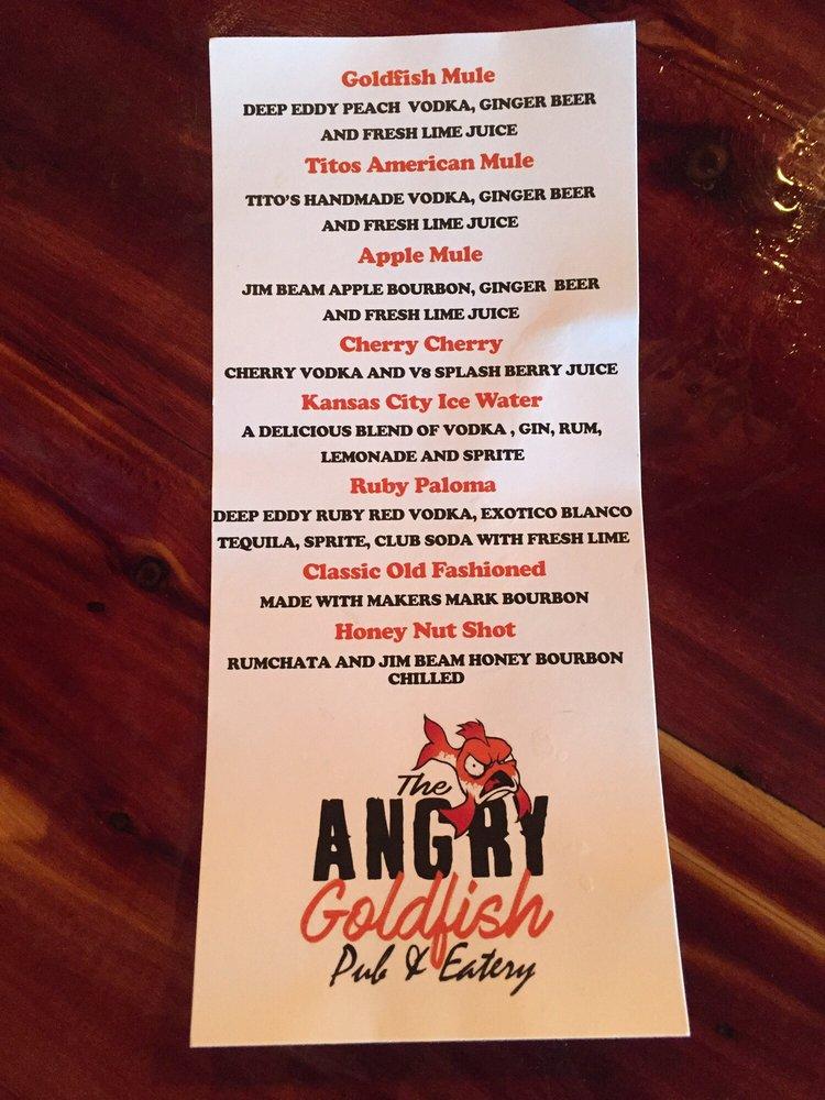 Angry goldfish des moines menu