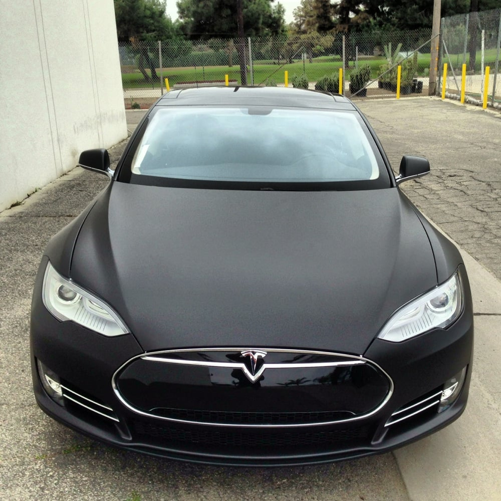 2013 Tesla Model S P85 Matte Black Vinyl Wrap