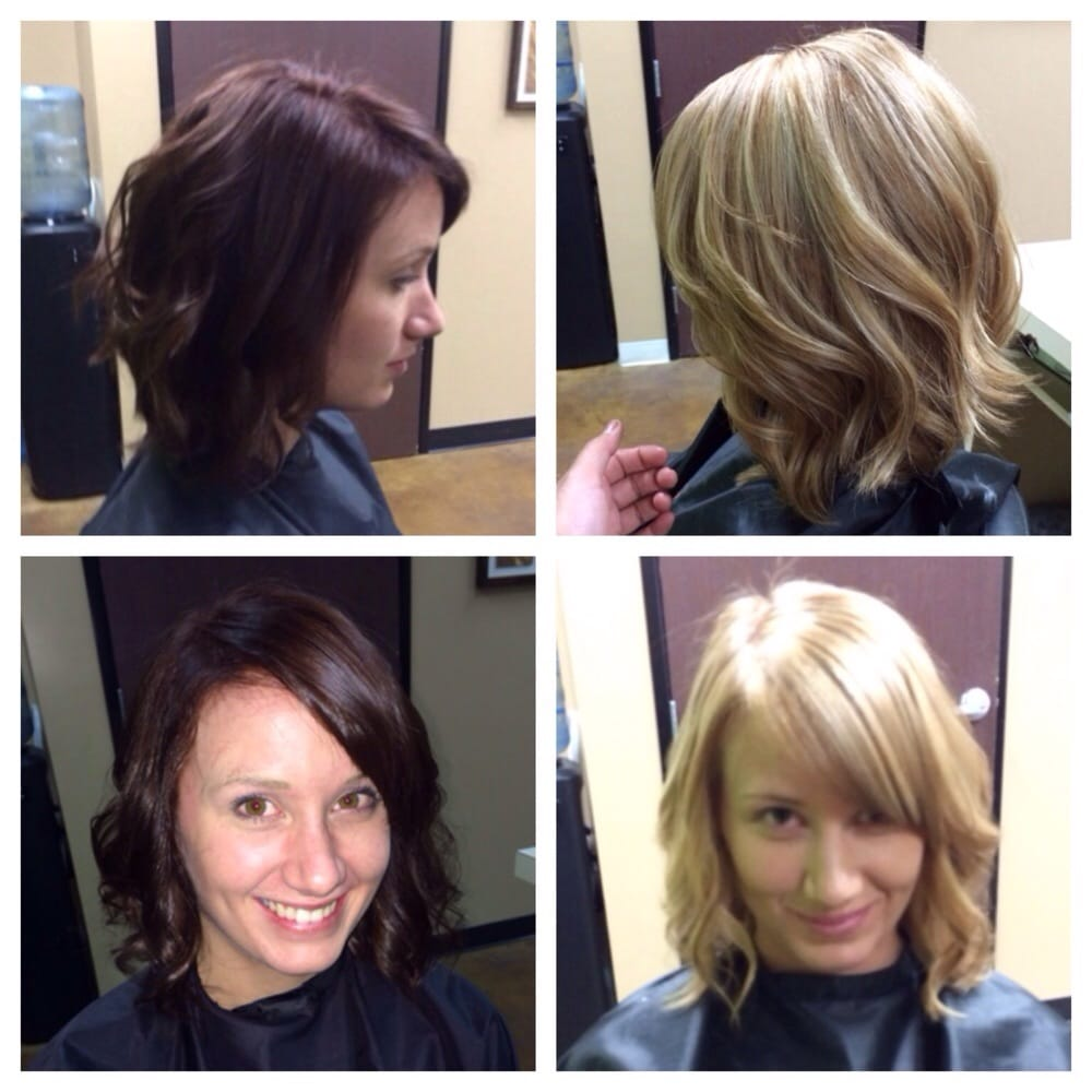 Before a rich dark brown after a beige blonde call text for 100 beauty salon escondido