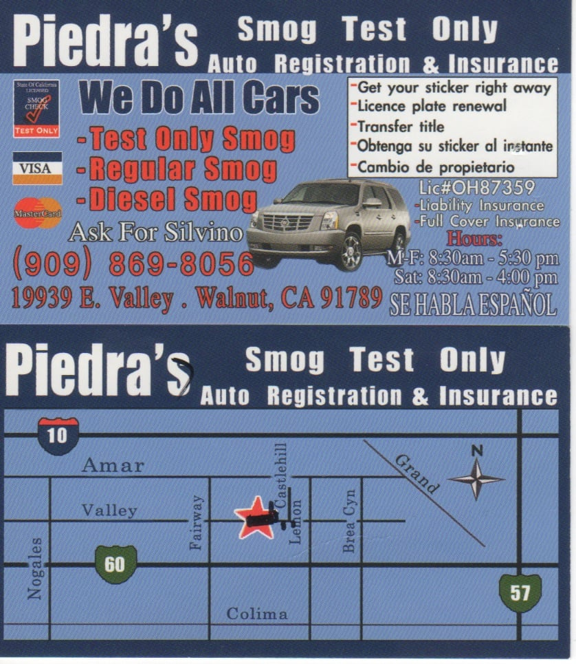 Piedras smog test only 23 reviews smog check stations 19939 piedras smog test only 23 reviews smog check stations 19939 valley blvd walnut ca phone number yelp xflitez Gallery