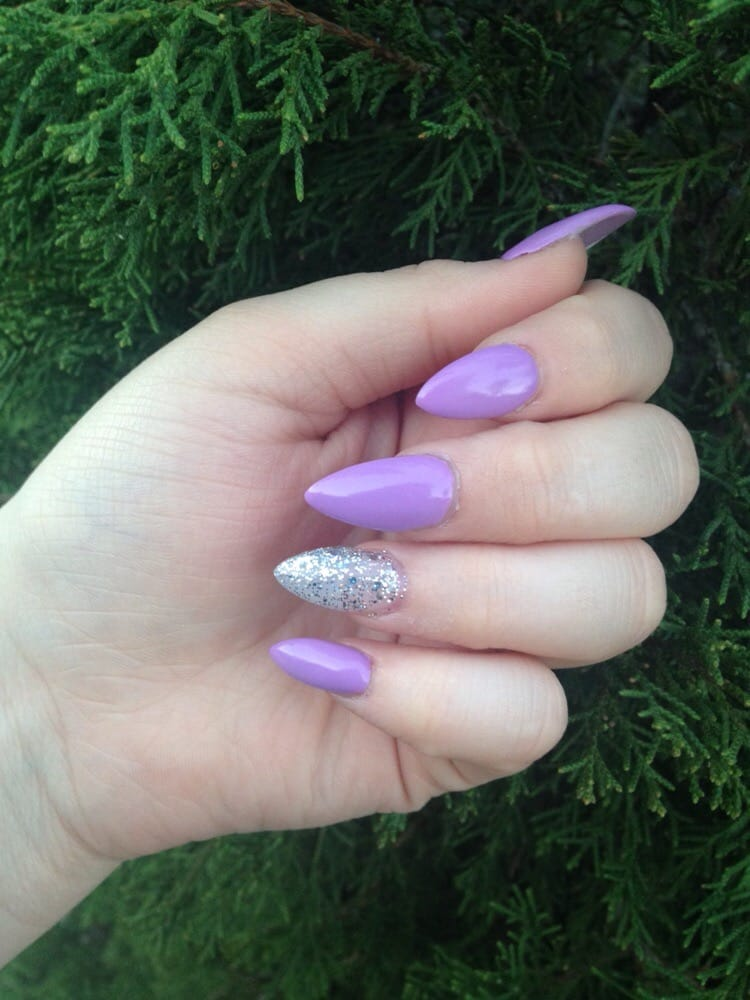 Pointed acrylics with their number 65 gel polish in purple and their ...