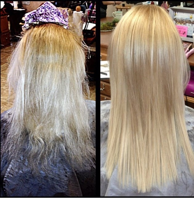 Before And After Deep Conditioning Treatment Lowlights Cut And A