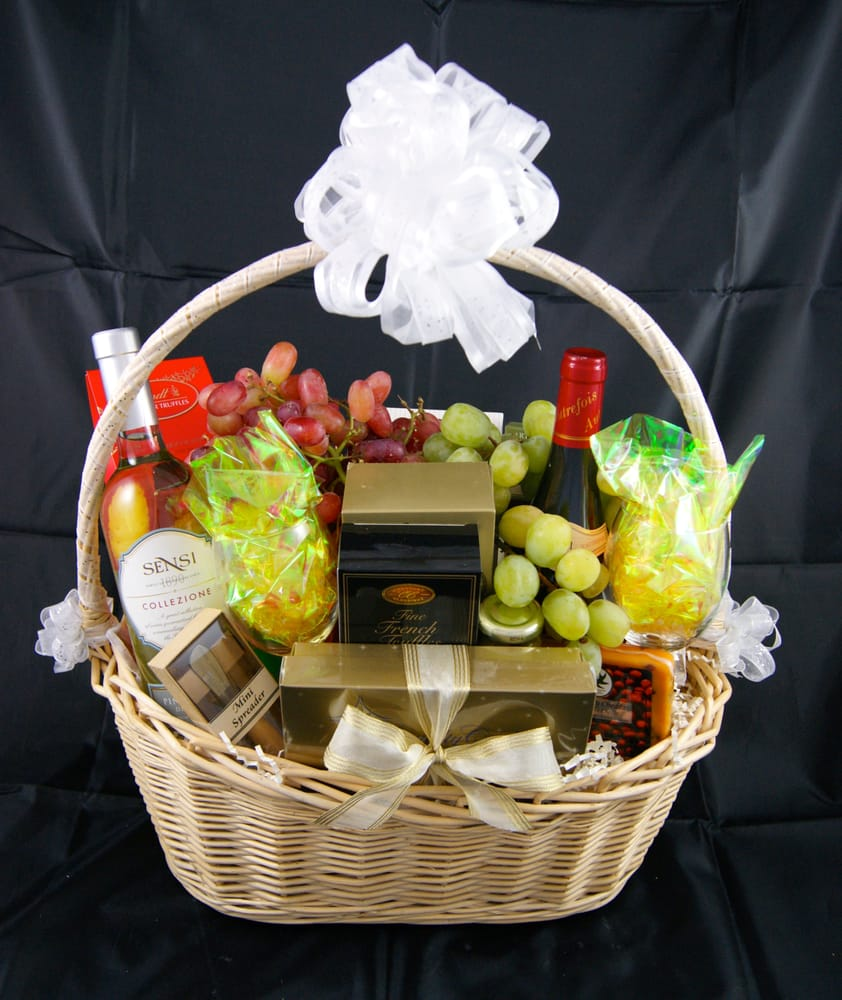 Wedding or happy anniversary basket 2 bottles of wine grapes photo of barbers gift baskets wellington fl united states wedding or happy negle Gallery
