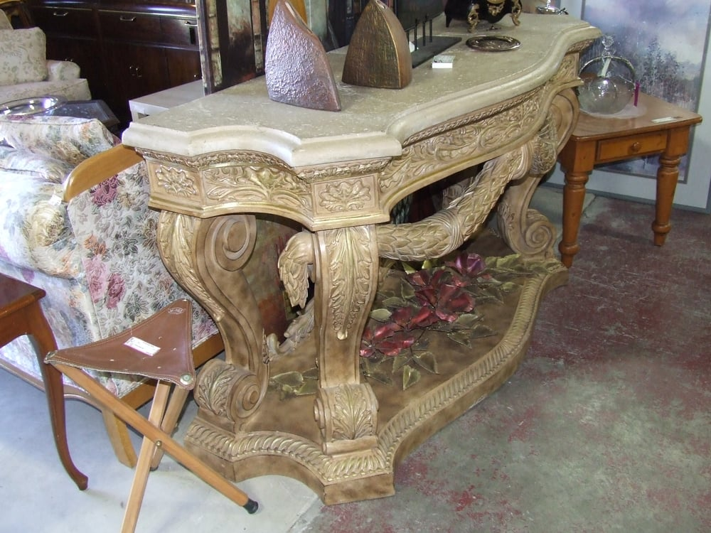 Marble Top Ornate Entry Table Off WhiteYelp