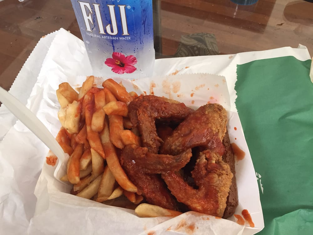 4 wings fried hard w hot and mild sauce lunch yelp for Jj fish and chicken chicago il