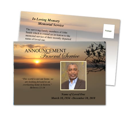 Funeral invitations with many beautiful http www for New service announcement template