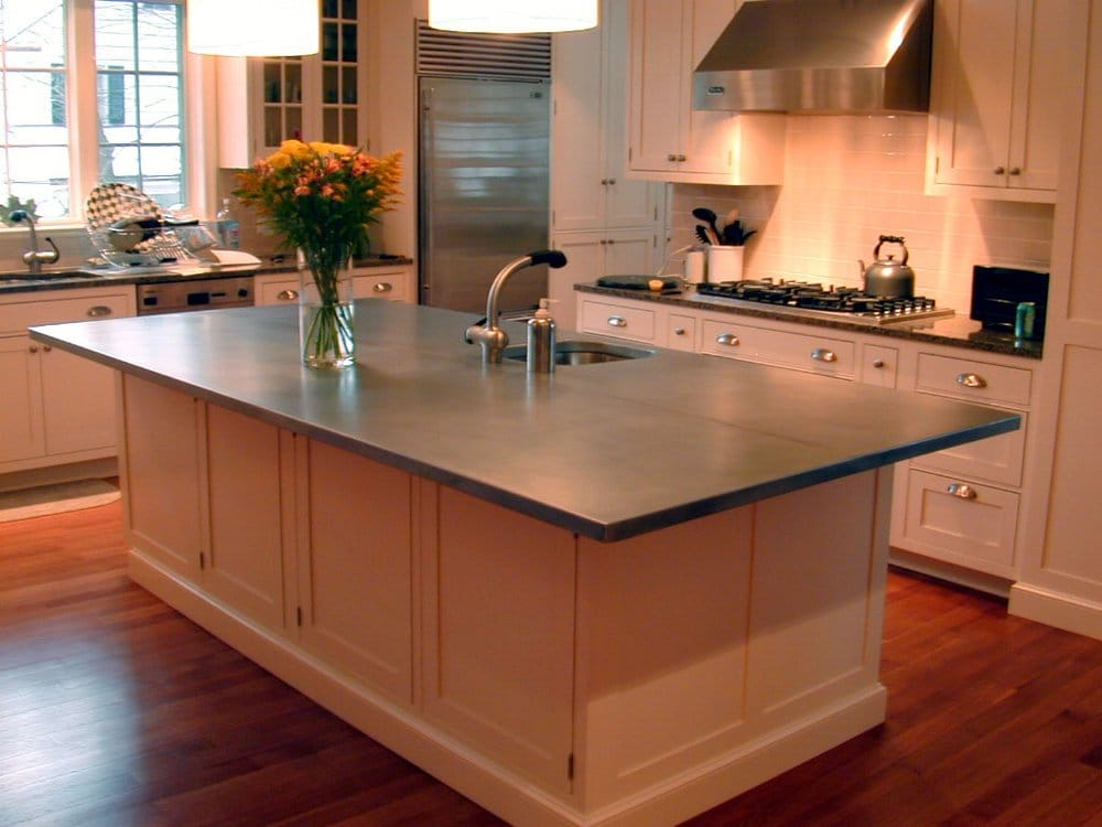 Brooks custom zinc countertop yelp for Zinc kitchen countertop