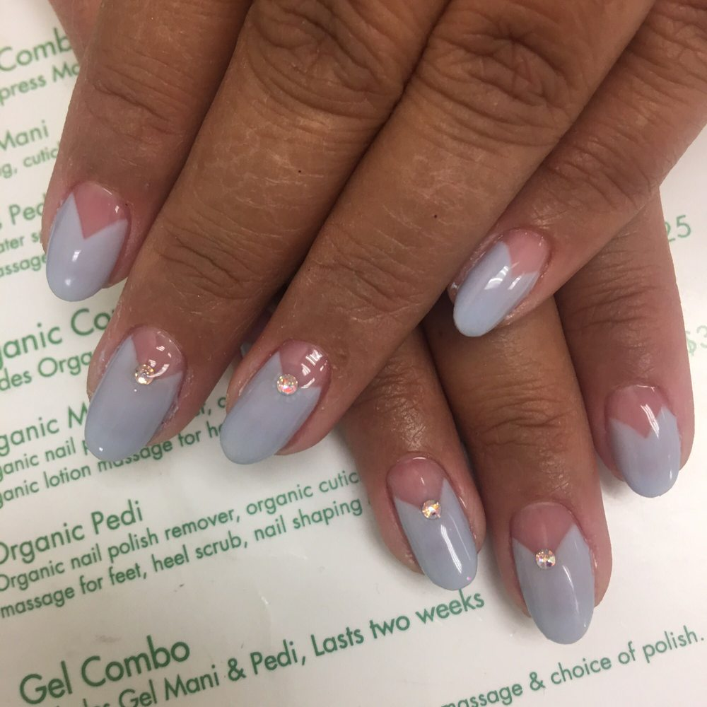 French diamond gel manicure, Green Nail, Los Angeles, California - Yelp
