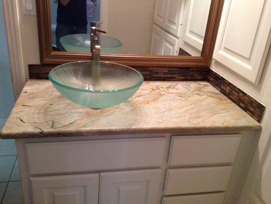 Glass Vessel Sink On Fusion Granite Bathroom Countertop Yelp